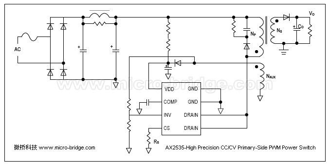 集成电路(ic)-微桥提供低成本高精度5v,1a原边反馈-ax