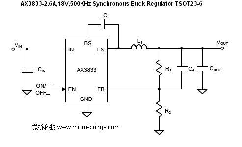 电动玩具_稳压ic_ax3833-2.6a,18v,500khz  buck