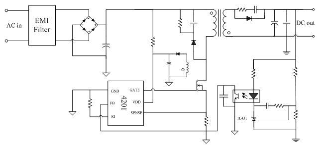 优化设计的启动电路使pt4201所需的启动电流极小(典型3ua),正常工作