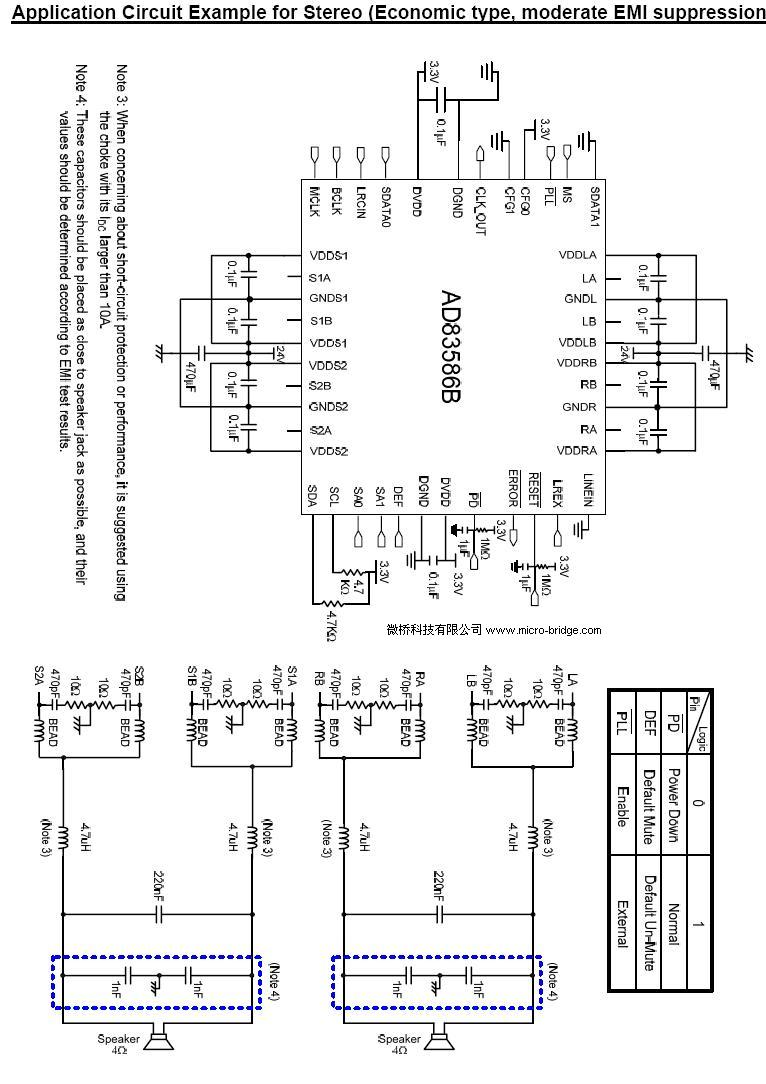 Ad83586b 21ch Digital Audio Amplifier Circuit Diagram Knowledge 2x40w Two Channel Class Ab Power The Output Stage Is Flexibly Configurable For 21 Stereo Or Mono Applications Furthermore It Possible To Use Three Pieces Of