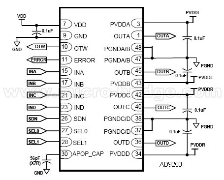 集成电路(ic)-ad9258-24v digital amplifier po.