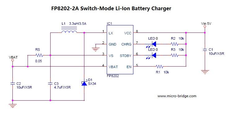 远翔推出 2A 锂电池充电IC FP8202,高整合度 2A Switch-Mode锂电池充电IC,适用于单节锂电池,频率600KHz,输入电压 4.35V~5.5V,应用产品如手持式装置、移动电源等产品。